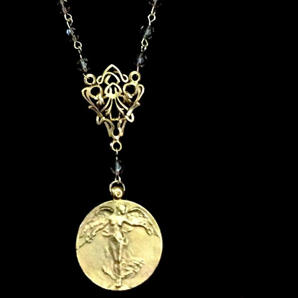 Peace Angel Necklace Black Diamond & Gold by Whispering Goddess