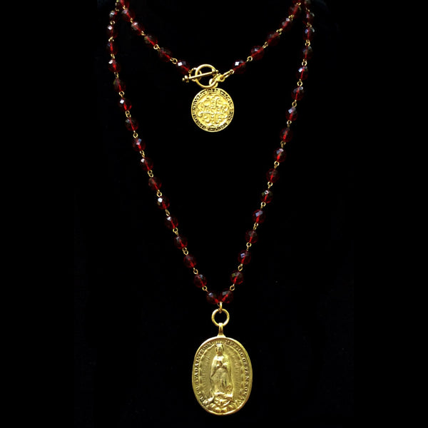 Cristo Rey Necklace with Our Lady of Guadalupe & Saint Michael in Garnet & Gold