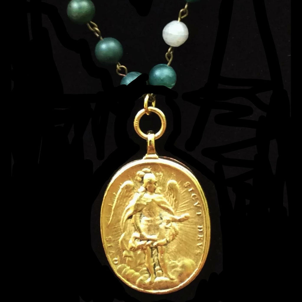 Cristo Rey Necklace with Our Lady of Guadalupe & Saint Michael in Moss Fusion