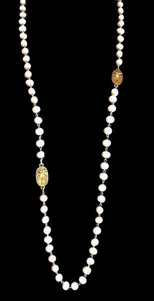 "French Kande Fresh Water Pearl Oval Curvee Medallion Wrap Necklace 36"" Gold"
