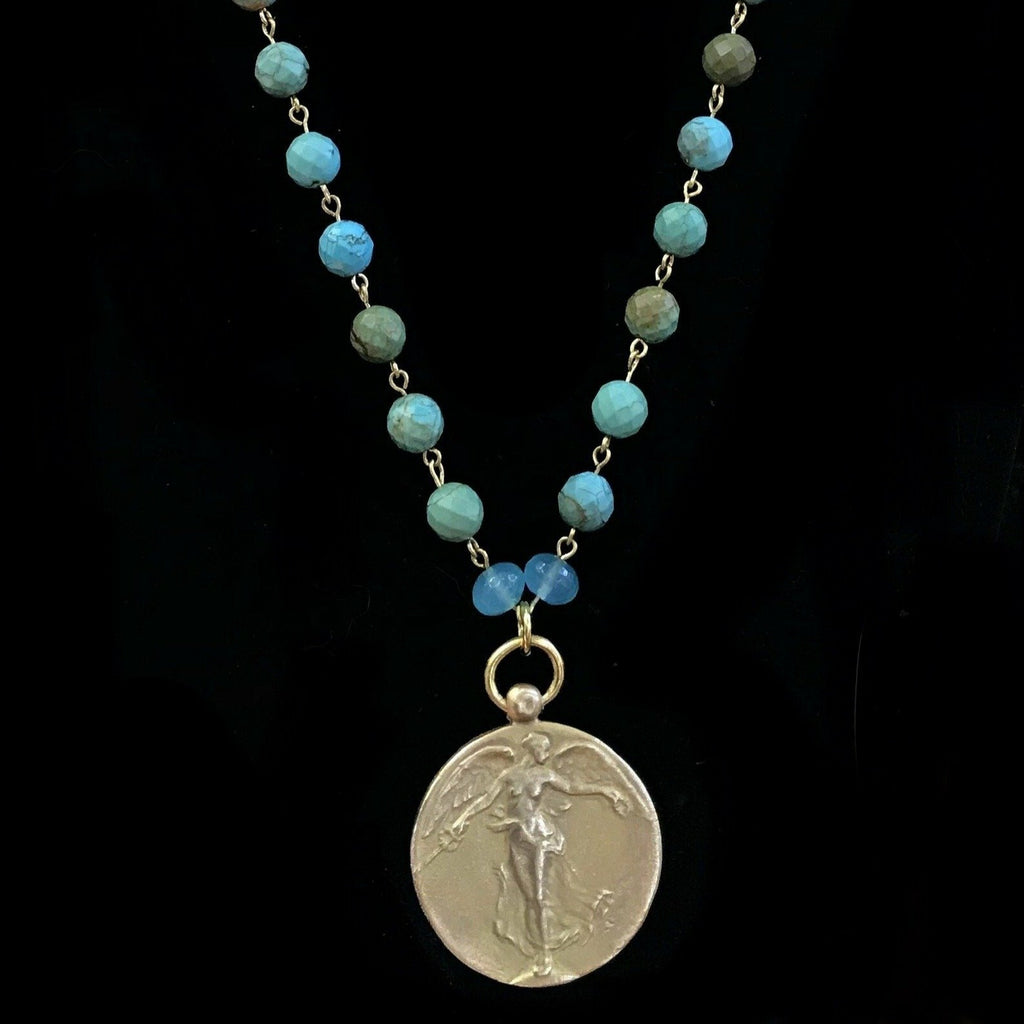 Taking Flight  Peace Angel  Turquoise & Gold Necklace by Whispering Goddess