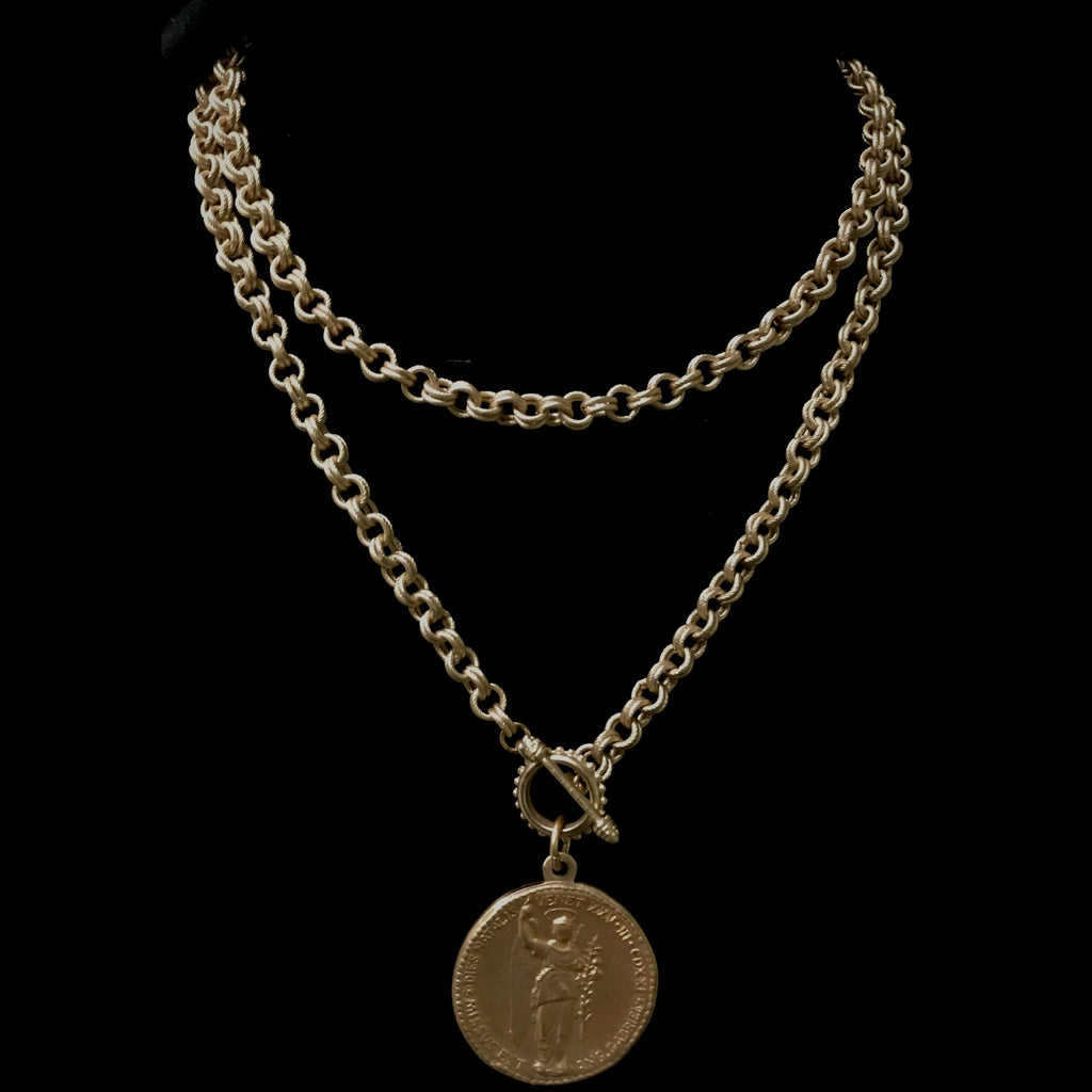 Saint Gabriel & Theotokos Double Cable Necklace  by Whispering Goddess - Gold