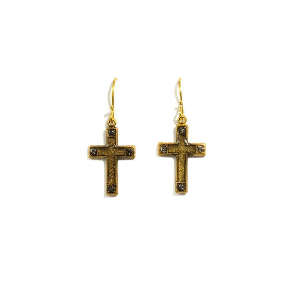 Virgins Saints & Angels Les Celeste Cross Earrings - Gold