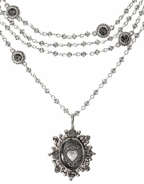 Bicone Black Diamond Virgins Saints & Angels Oval Sacred Heart Magdalena Necklace in Silver