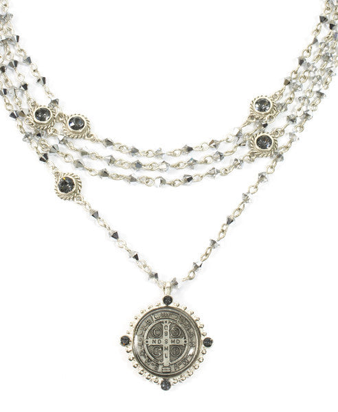 Bicone Crystal Chrome San Benito Magdalena Necklace Silver - VSA Designs