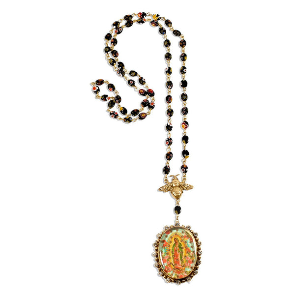 VSA Designs Queen Bee Rosary  Necklace Murano Glass - Gold