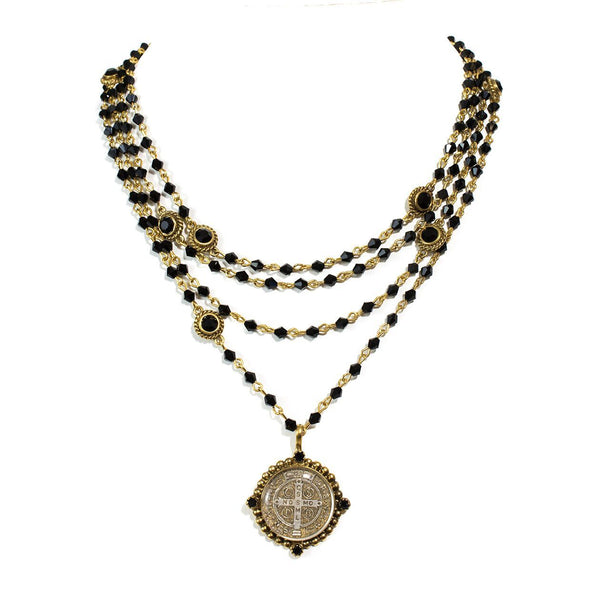 Virgins Saints & Angels Bicone Black Jet and Gold San Benito Magdalena Necklace
