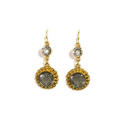San Benito Magdalena  Earrings in Clear Crystal & Gold by Virgins Saints & Angels