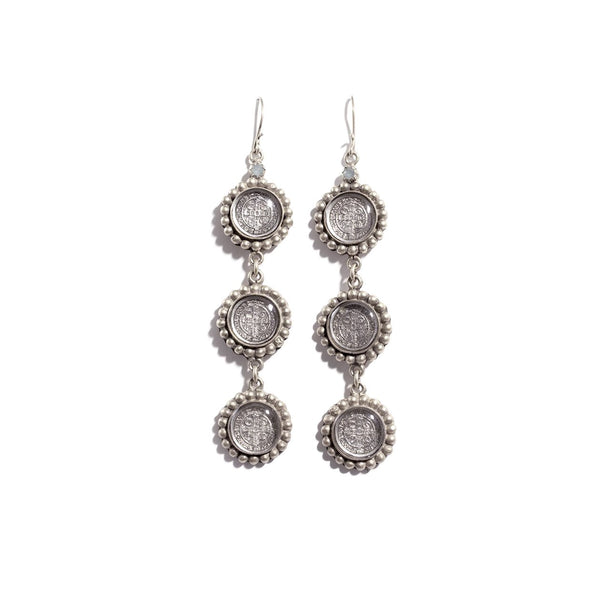 VSA Designs Triple San Benito Earrings in Silver with Clear Crystal