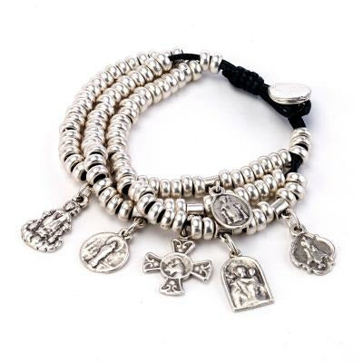 Nightingale Mountain Madonna Medal Triple Strand Charm Bracelet