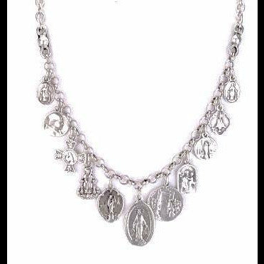 Nightingale Mountain Miraculous Medal Charm Necklace 18""