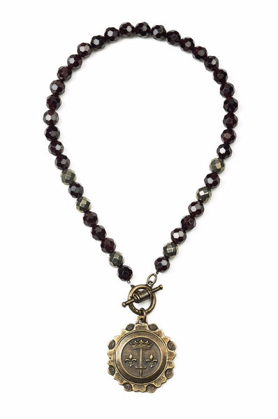 French Kande Faceted Garnet and Pyrite La Jeanne Medallion Necklace