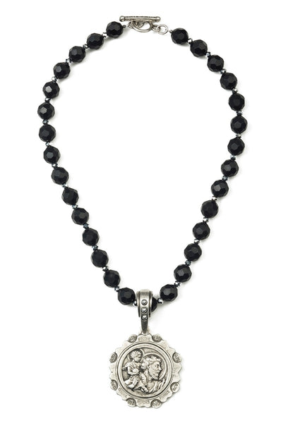 French Kande St. Christopher Faceted Onyx  Necklace