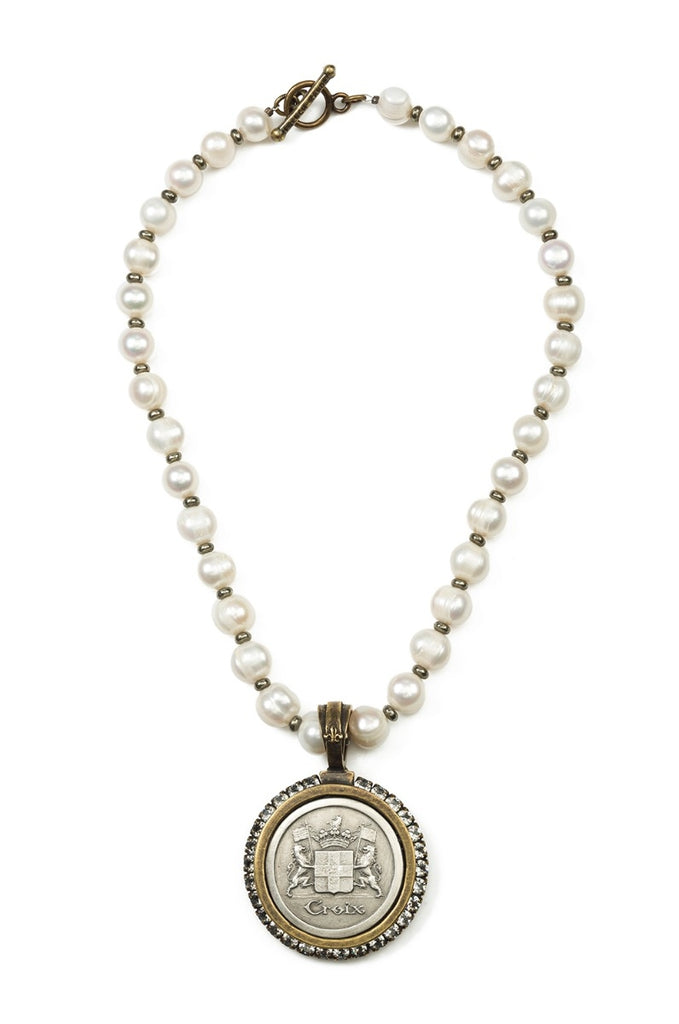 French Kande Freshwater Pearl with Pyrite and Croix Medallion Necklace Gold