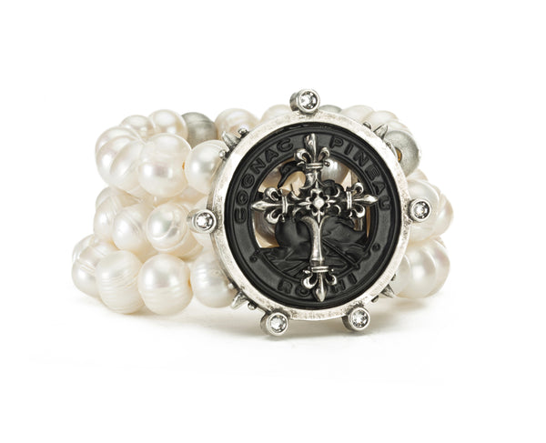French Kande Pearl Triple Strand Pineau Cross Medallion Bracelet