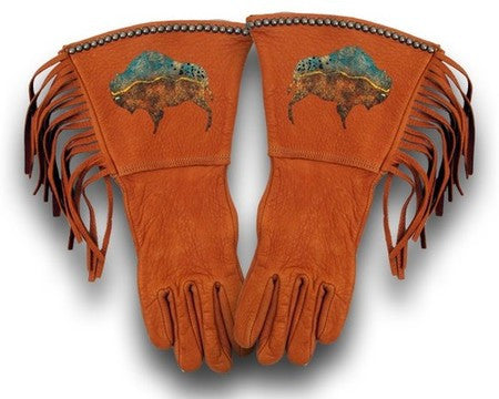 Saddle Dream Buffalo Fringed Gloves by Patricia Wolf