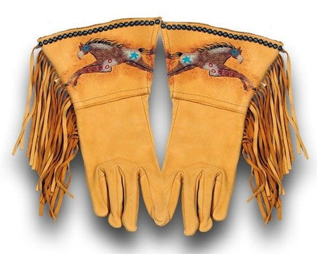 Gold Cayuse Fringed Gloves by Patricia Wolf