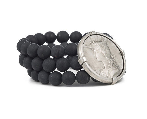 French Kande Black Jasper Triple Strand Joan of Arc Ministry Medallion Bracelet