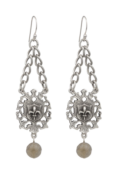 French Kande Heart Fob Fleur de Lis Earrings Silver