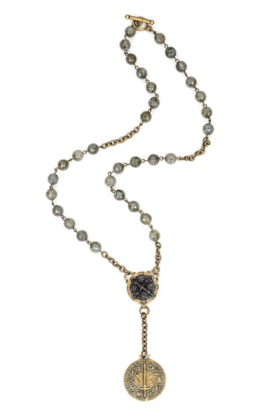 French Kande Fleur de Lis X Medallion with Du Terre Gray Labradorite Necklace