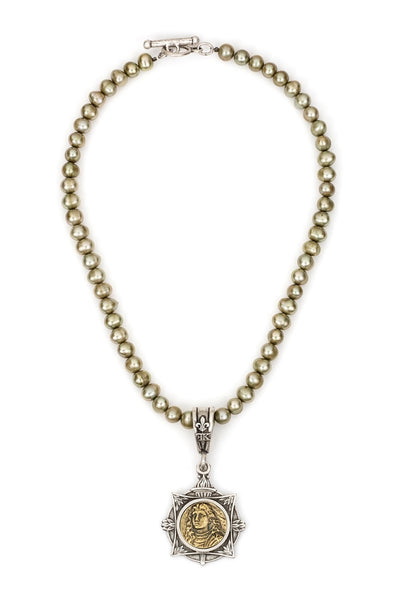 French Kande Chartreuese Freshwater Pearl Necklace 17""