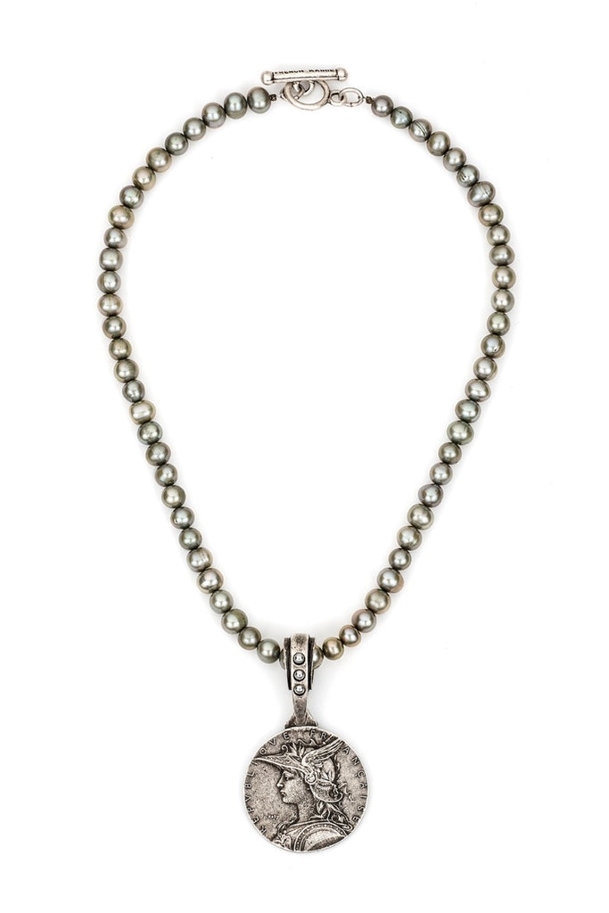 French Kande Pewter Freshwater Pearls with Ministry Medallion Necklace 17""