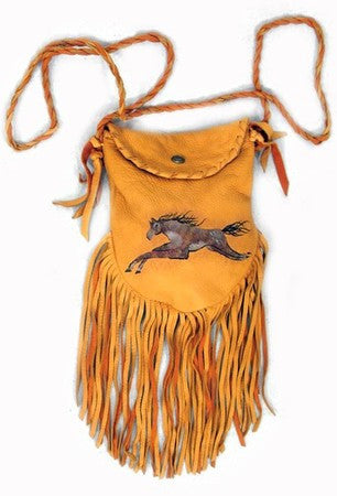 Gold Cayuse Horse Crocket Pouch by Patricia Wolf