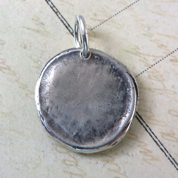 Wax Seal Saint Benedict Medallion Necklace Sterling Silver Antique Reproduction