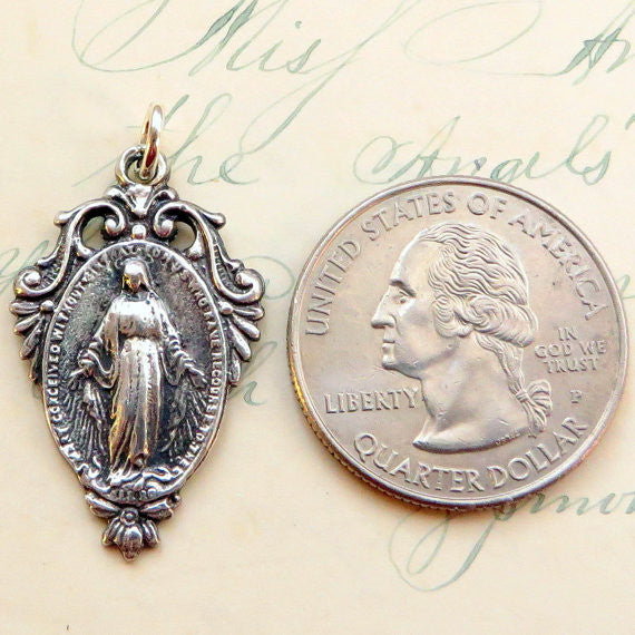 Miraculous Medal with the Virgin Mary Sterling Silver - Antique Reproduction