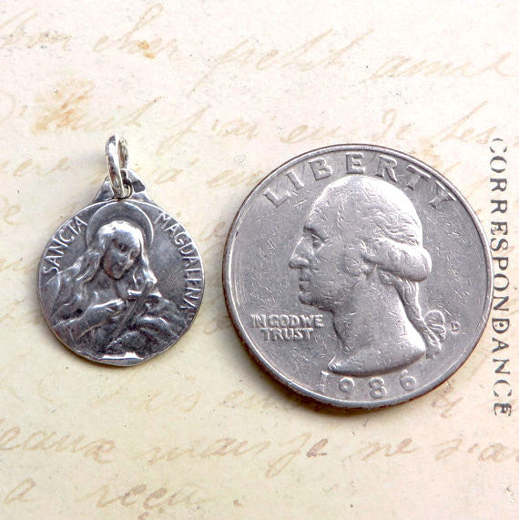 Mary Magdalene Medallion Necklace - Sterling Silver Antique Reproduction