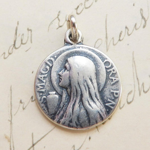St mary magdalene medallion necklace sterling silver antique st mary magdalene medallion necklace sterling silver antique reproduction mozeypictures Gallery