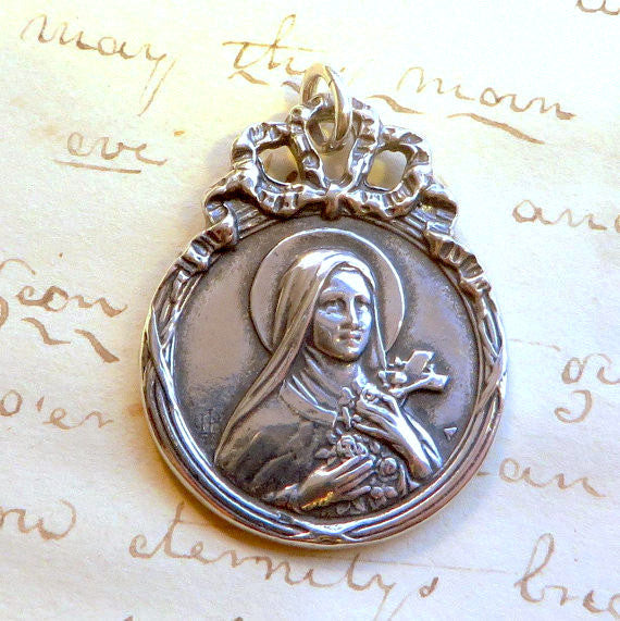 Saint Therese the Little Flower Medallion Necklace - Sterling Silver Antique Reproduction
