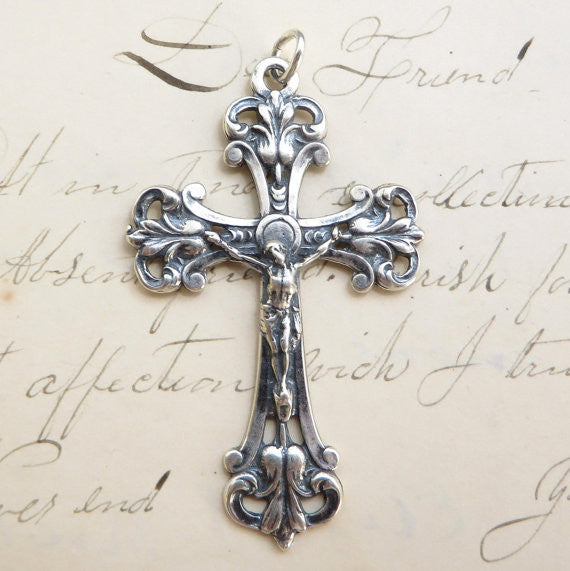 Ornate Sterling Silver Cross with Crucifix - Antique Reproduction