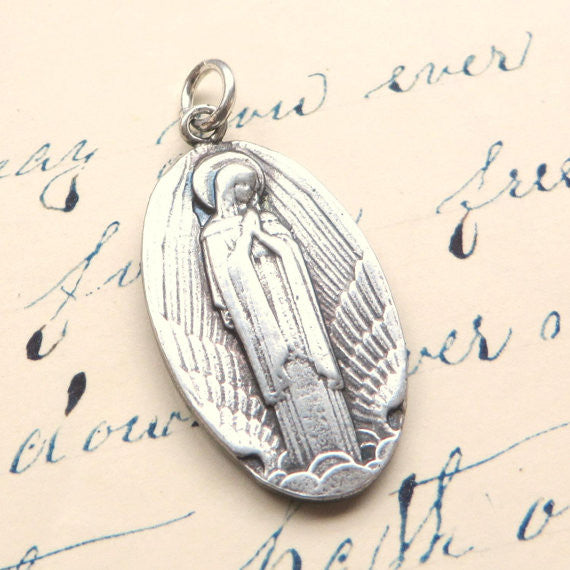 Our Lady of Wings Medallion Necklace - Sterling Silver Reproduction