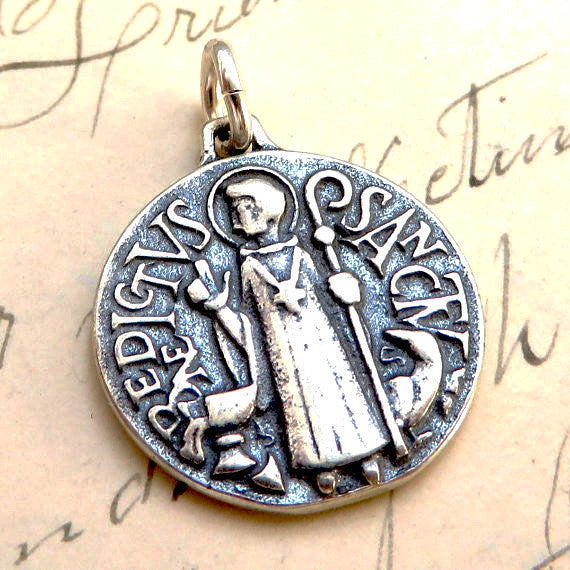 Art Deco St Benedict Medallion Necklace Sterling Silver Antique Reproduction