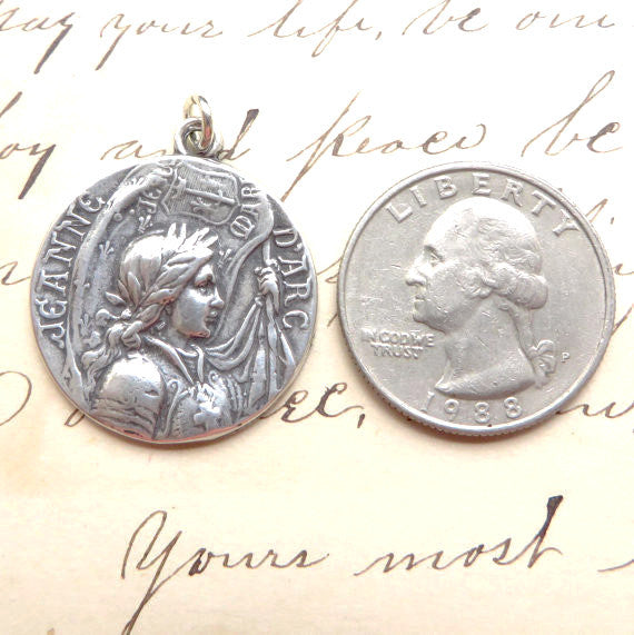 St. Joan of Arc Medallion Necklace - Sterling Silver Reproduction