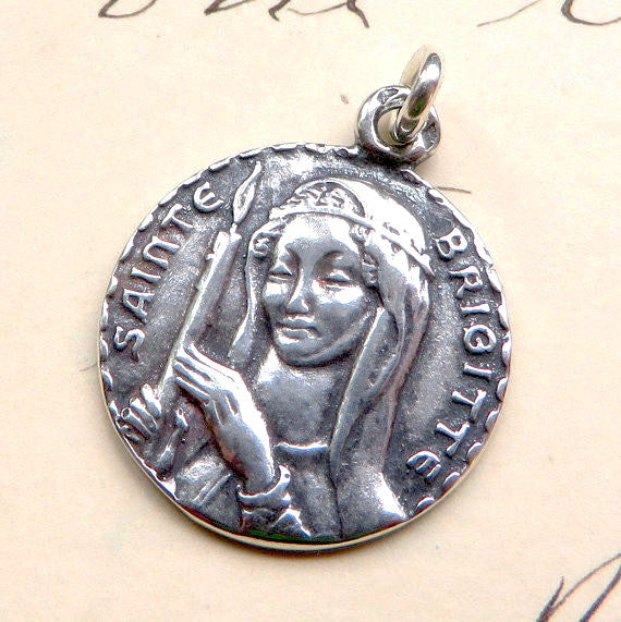 St. Brigid Medallion Necklace - Sterling Silver Antique Reproduction