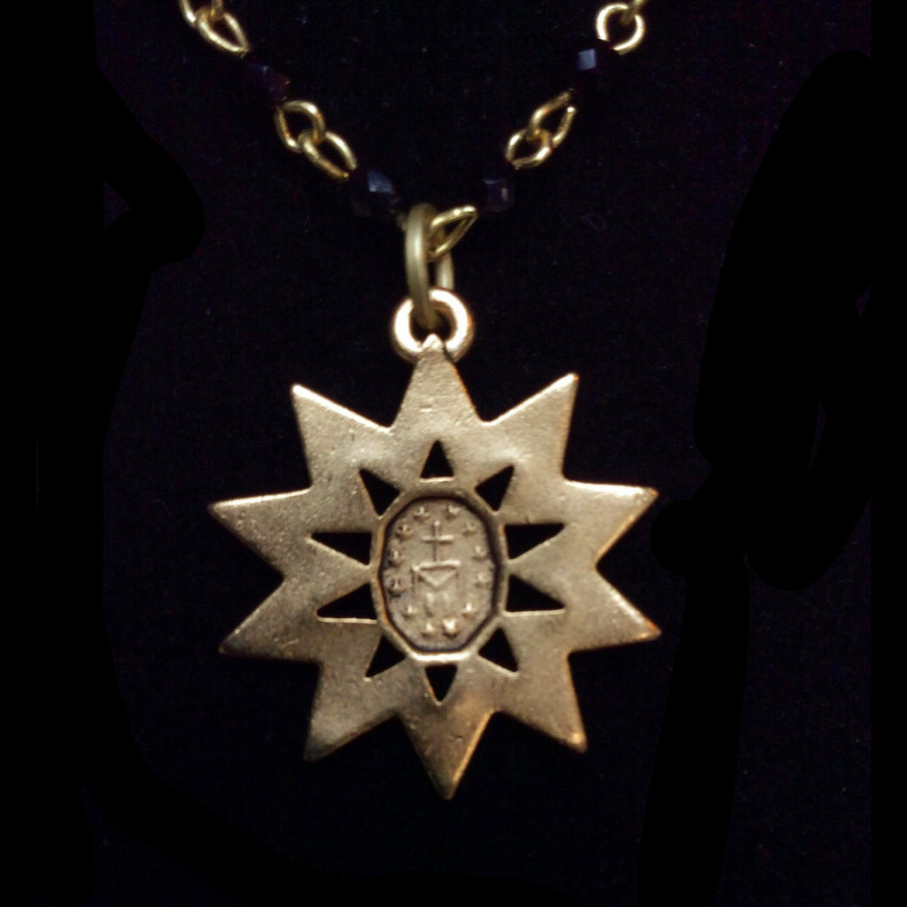 "Forgotten Graces ""Miraculous Rays"" Medal in Black Jet and Gold Necklace"