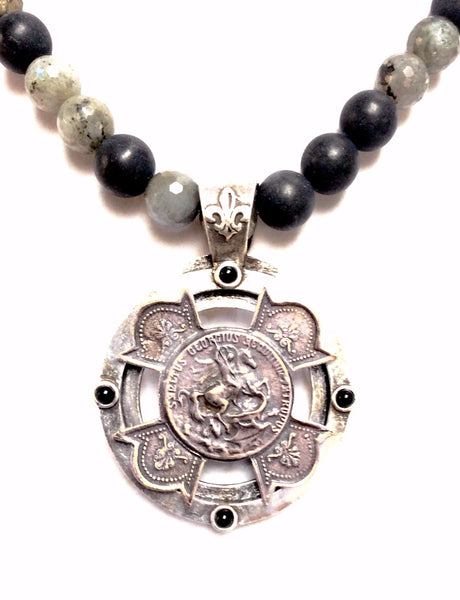 "French Kande Midnight Mix St. George Equestrian Stack Cross Medallion Necklace 17"" Silver"
