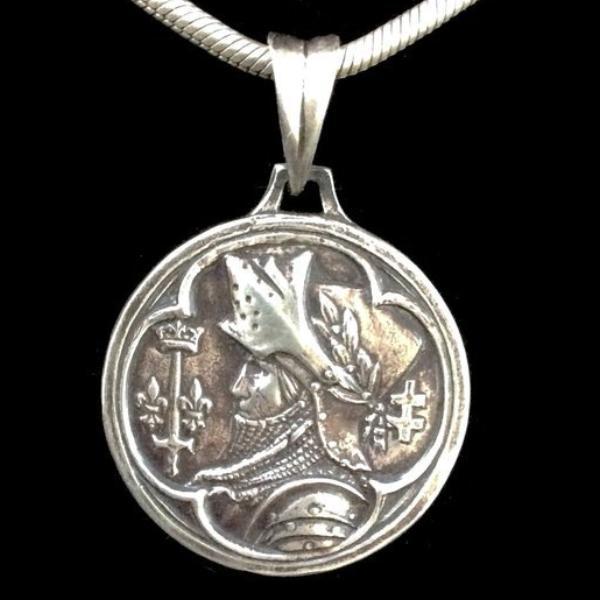 Whispering Cowgirl Private Label Saint Joan of Arc Pendant Necklace Sterling Silver