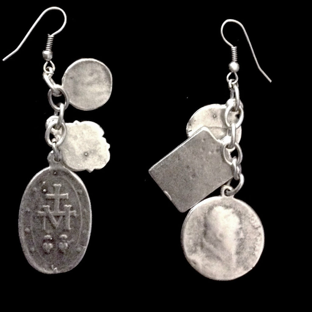 Nightingale Mountain Miraculous Medal Charm Earrings