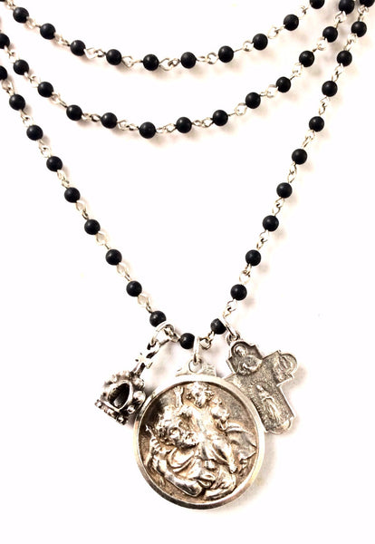 French Kande Safe Travels Necklace with St. Christopher & Lourdes Anniversary Cross Necklace Black Jasper