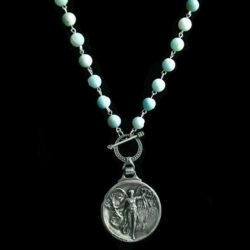 Nike the Greek Goddess of Victory Matte Amazonite Necklace