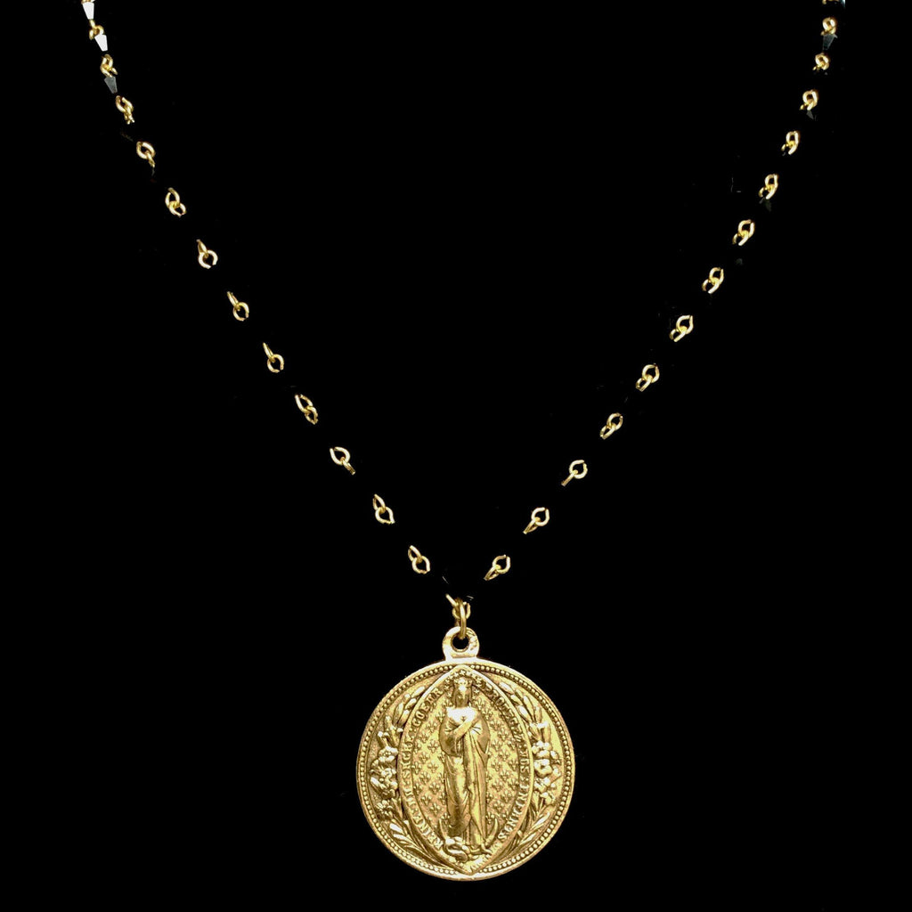 Forgotten Graces Sacred Heart  Madonna Medal Bicone Black Jet and Gold Necklace