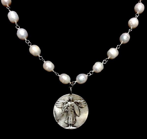 Twigs Jewels Freshwater Pearls with St. Michael Victory Angel Necklace 18""