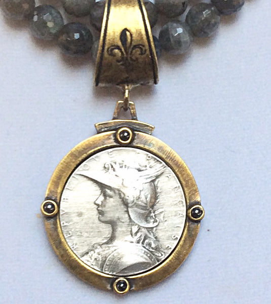 French Kande Double Labradorite Joan of Arc Ministry Medallion Necklace