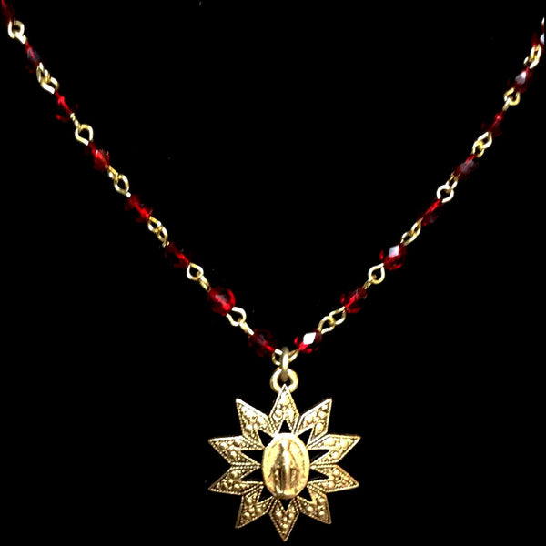 "Forgotten Graces ""Miraculous Rays"" Medal in Garnet and Gold Necklace"