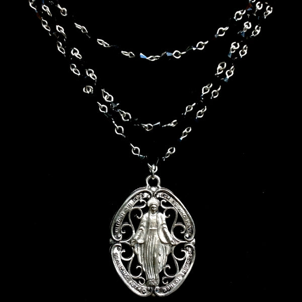 Glistening Grace Miraculous Medal Necklace Bicone Hematite & Silver