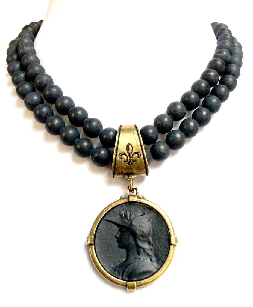 French Kande Double Black Jasper Joan of Arc Ministry Medallion Necklace