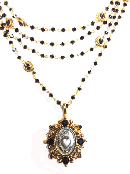 Virgins Saints and Angels Oval Sacred Heart Magdalena Necklace Bicone Black Jet and Gold